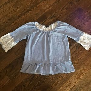 Blue and white striped blouse size large